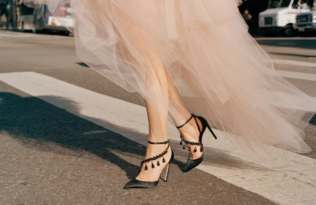 A look from the Off-White c/o Jimmy Choo collection.