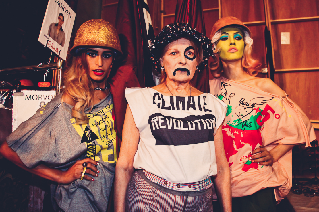 Backstage at the Vivienne Westwood show