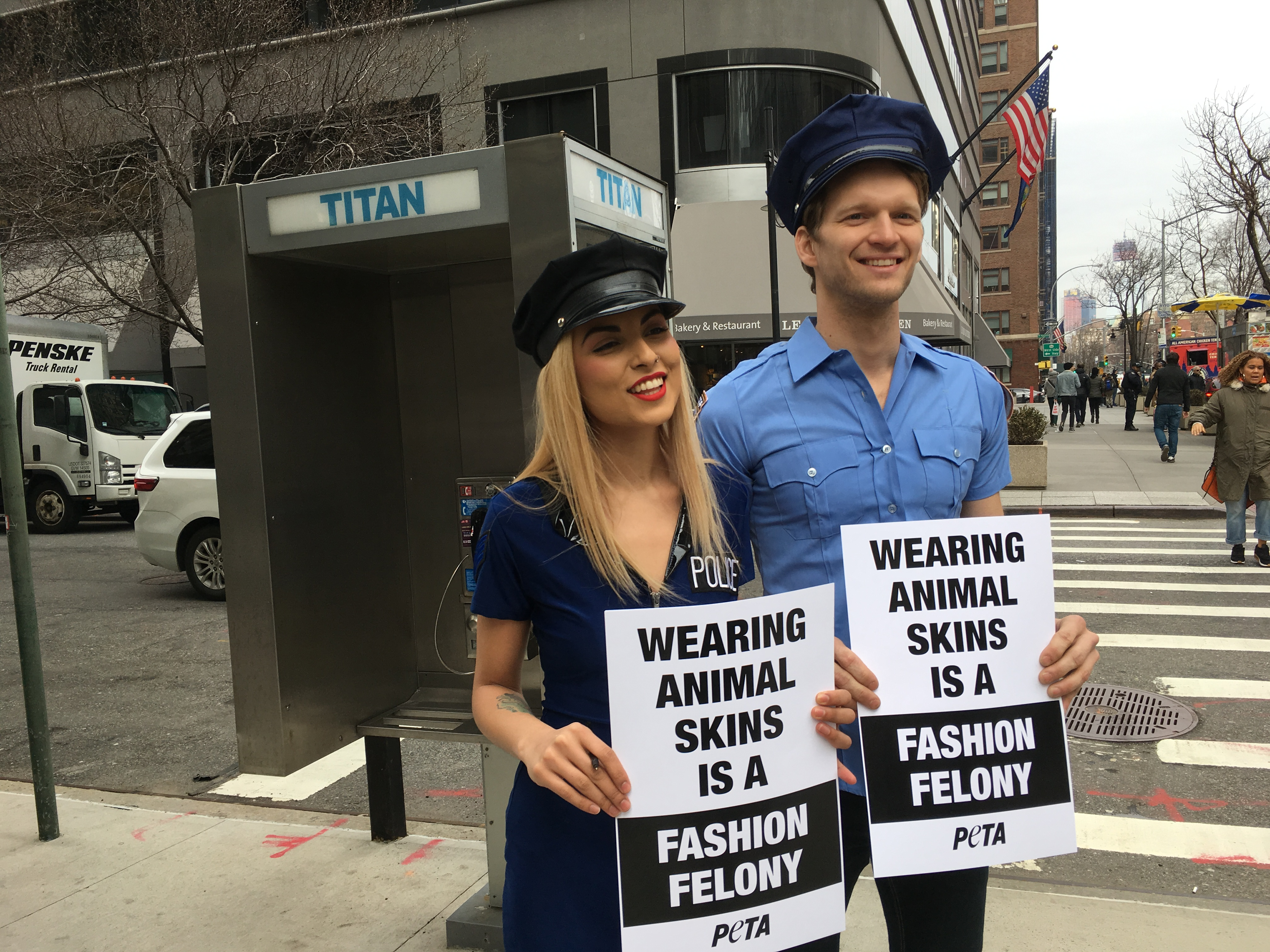 """PETA's """"Fashion police"""" at work on the streets of New York."""