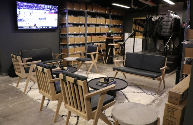 Inside The Stockroom at Untuckit's Madison Ave. store.