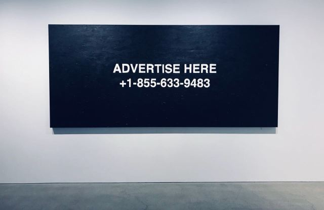 """A piece from Virgil Abloh's """"Pay Per View"""" at the Kaikai Kiki gallery in Tokyo."""