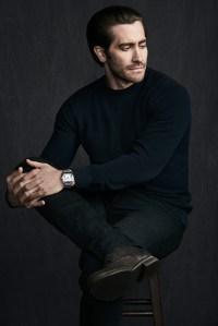 Jake Gyllenhaal wearing a Santos de Cartier watch.