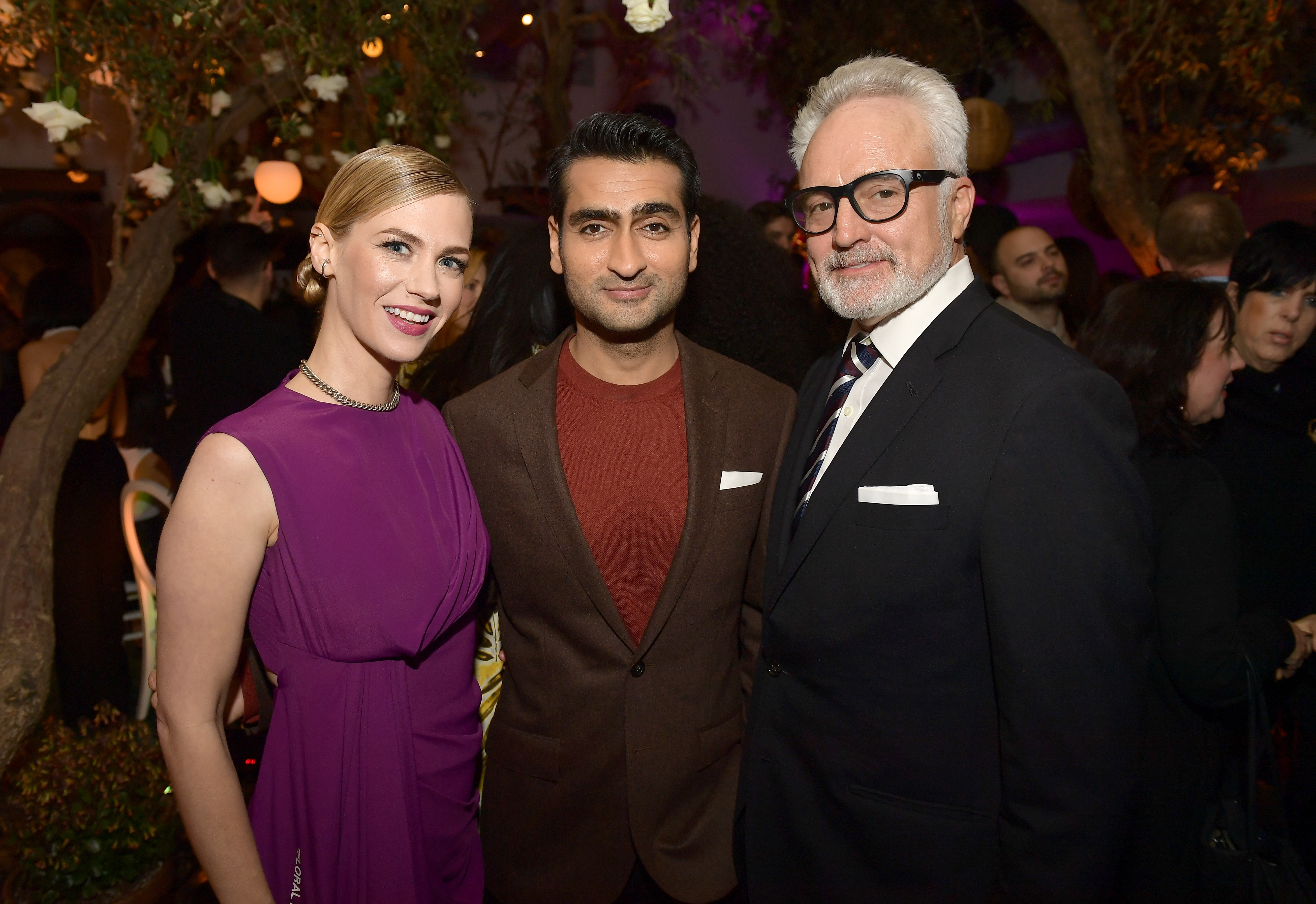January Jones, Kumail Nanjiani, and Bradley Whitford attend Vanity Fair and Lancome Paris Toast Women in Hollywood, hosted by Radhika Jones and Ava DuVernay, on March 1, 2018 in West Hollywood, California. (Photo by Matt Winkelmeyer/Getty Images for Vanity Fair) *** Local Caption *** January Jones;Kumail Nanjiani;Bradley Whitford