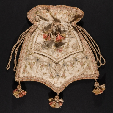 A reticule, circa 1800, crafted from an 18th century men's waistcoat.