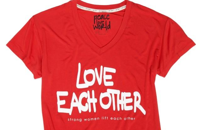 A Peace Love World T-shirt.