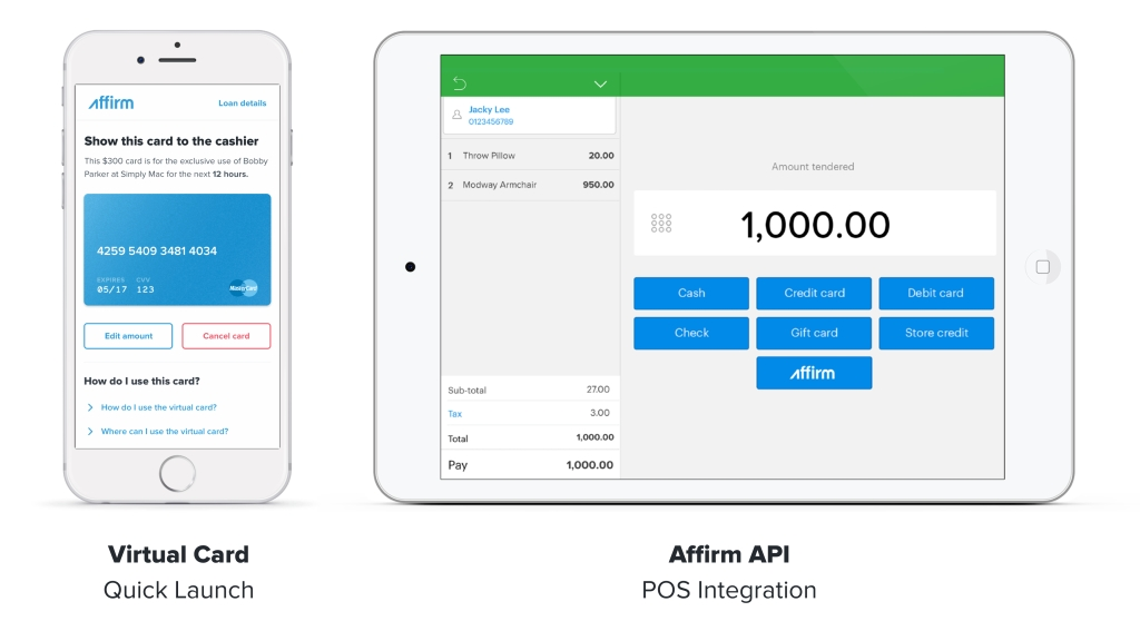 Affirm loan POS retail payments