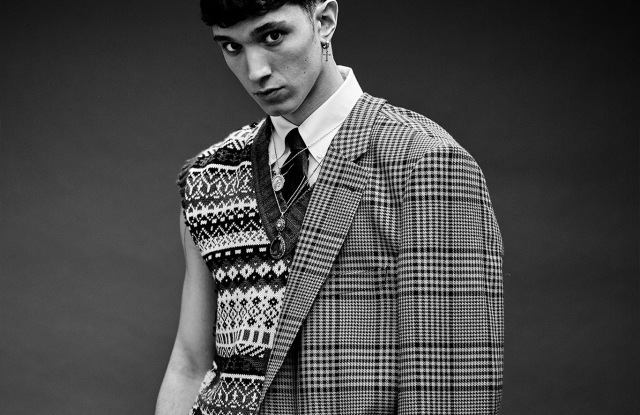 Dries Van Noten's wool coat; MSGM's wool sweater vest; Brooks Brothers' cotton shirt and Brunello Cucinelli's cotton blazer around waist and pants.