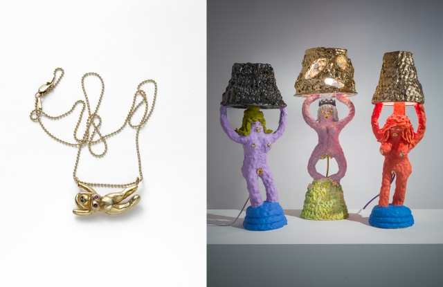 A necklace designed in collaboration between artist Katie Stout and jeweler Simone Paascheincorporates the likeness of Stout's lady figurines - more typically dispatched in larger formats to make lamps or chairs.