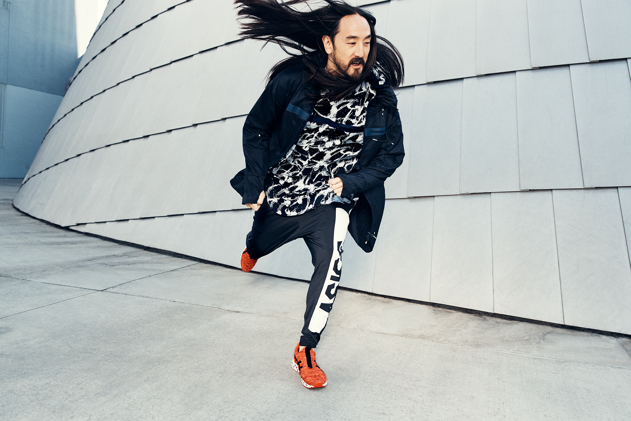 Steve Aoki in the promotional material for his Asics collaboration.