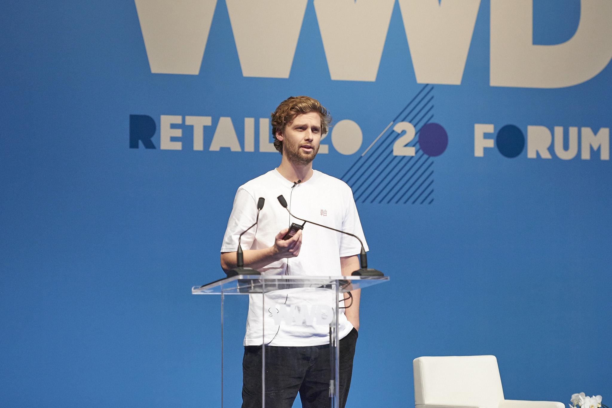 Albin Johansson speaking at WWD's inaugural Tokyo summit in partnership with Lumine.