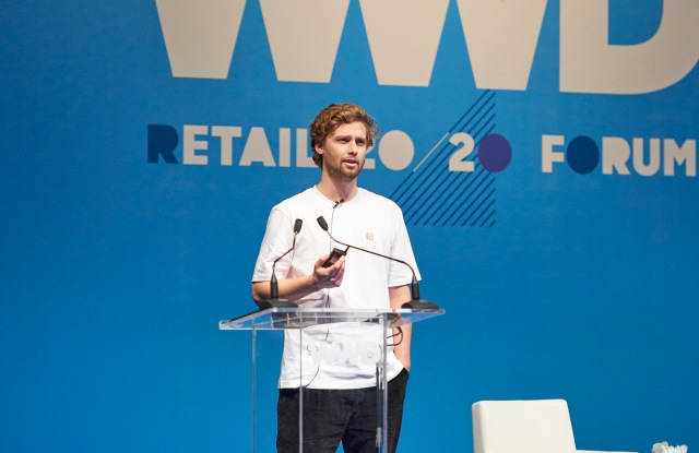 Albin Johansson speaking at WWD's inaugural Tokyo summit in partnership with Lumine.