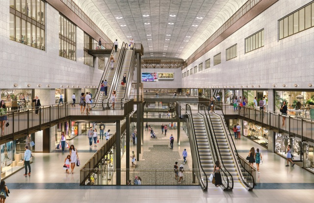 A rendering of one of two retail spaces at Battersea Power Station.