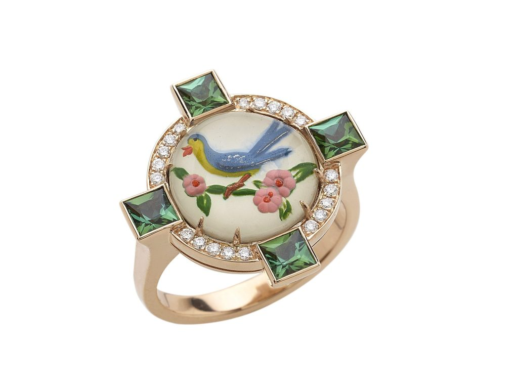 A ring featuring a vintage Essex crystal created by Francesca Villa.
