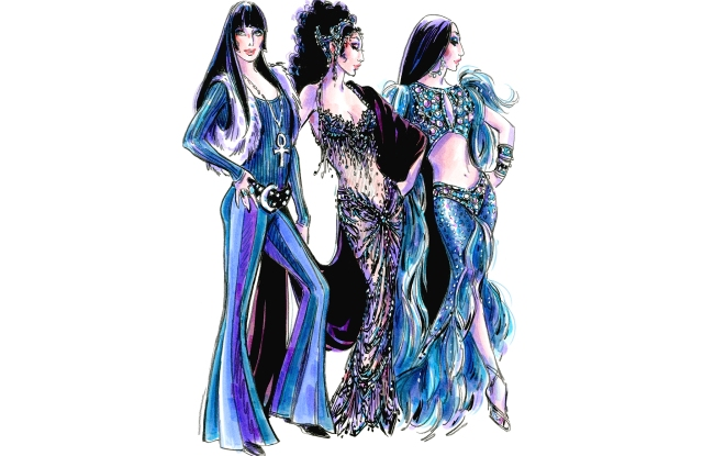 Bob Mackie sketches of wardrobe pieces for 'The Cher Show.'