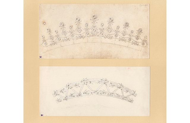 Drawings of tiaras from Chaumet's archives.