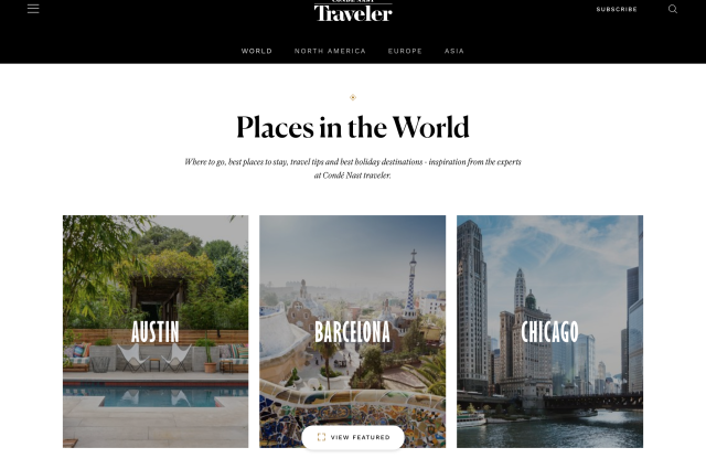 """""""The Places"""" section is a comprehensive guide to individual cities."""