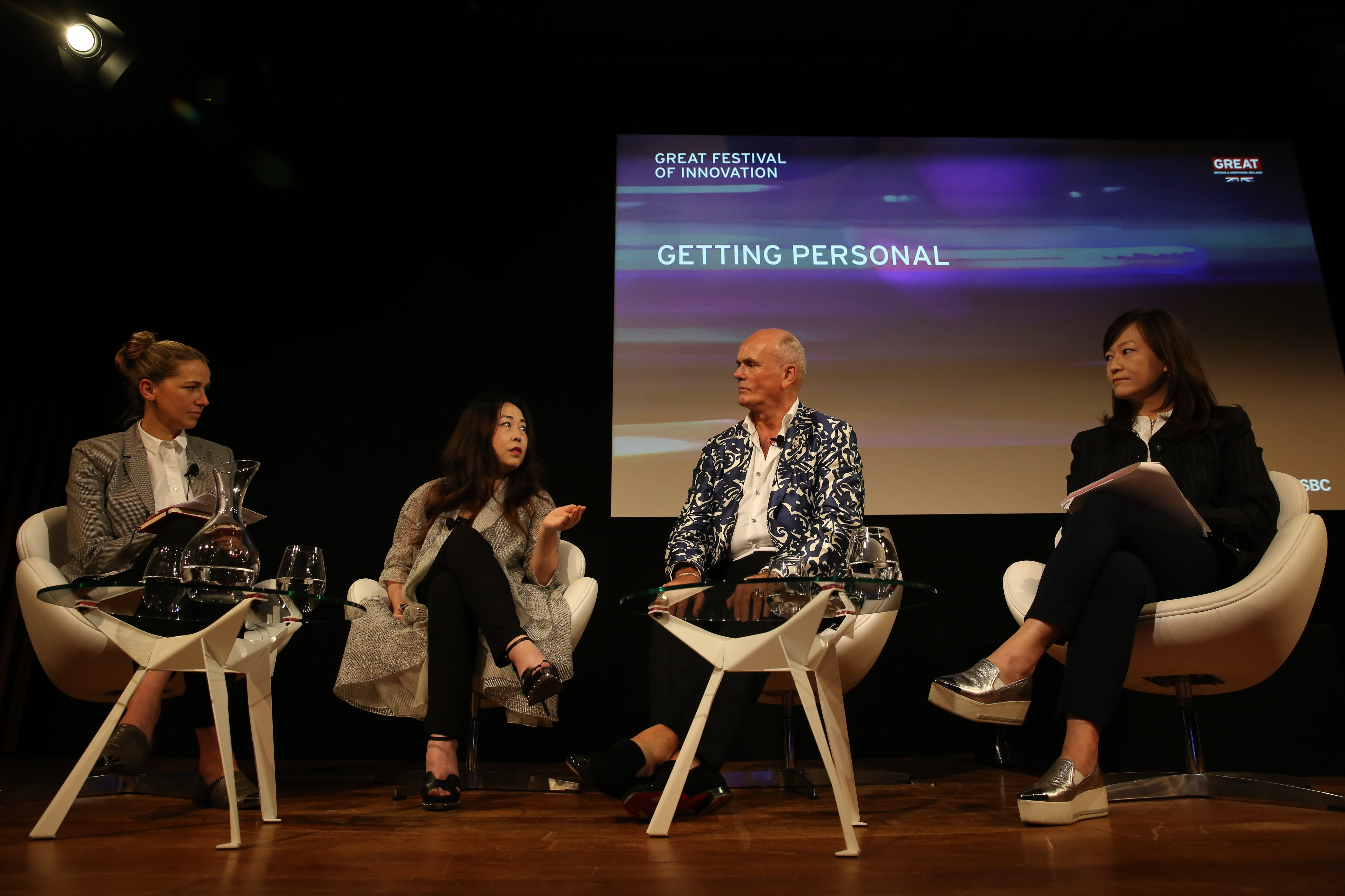Left to right: Christina Dean, founder of NGO Redress, couturier Grace Chen, perfumer Roja Dove, and Sophia Tsao of Newegg.