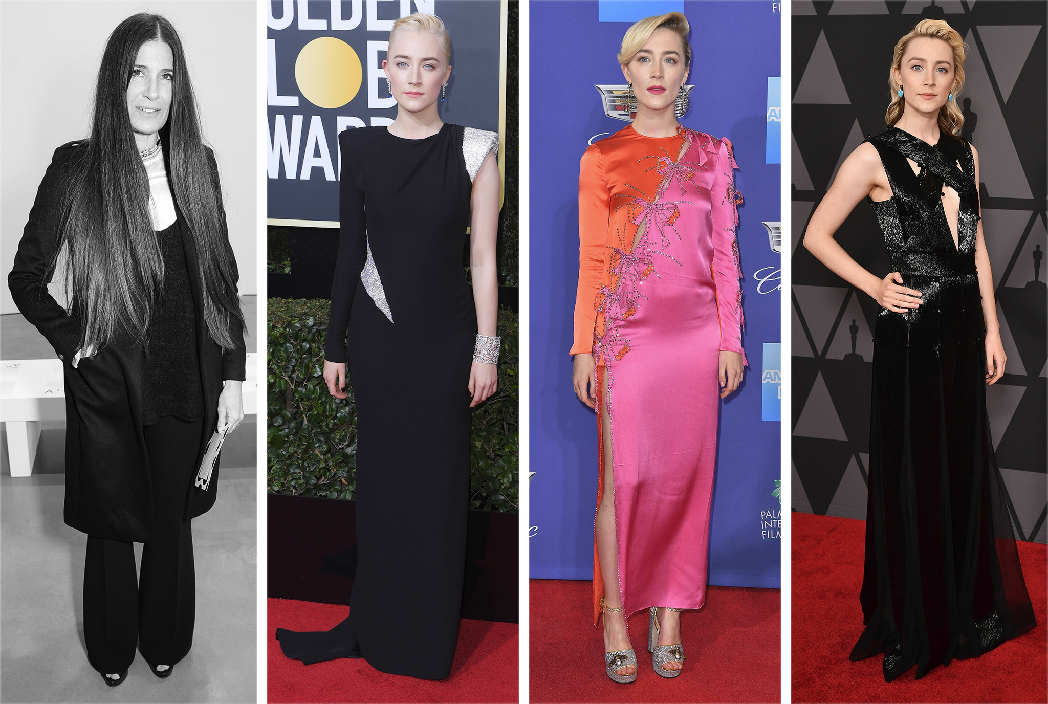 Elizabeth Saltzman with Saoirse Ronan in Versace, Gucci and Ralph and Russo