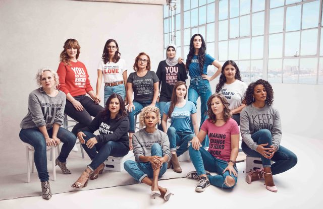 The Women's March organizers wearing T-shirts from the collection.