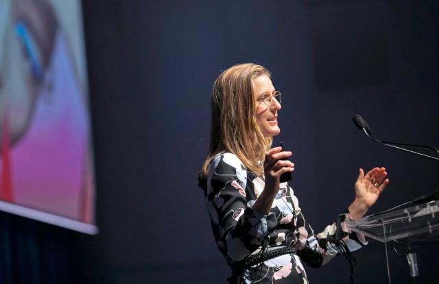 Jo Horgan speaking at WWD's inaugural Tokyo summit in partnership with Lumine.