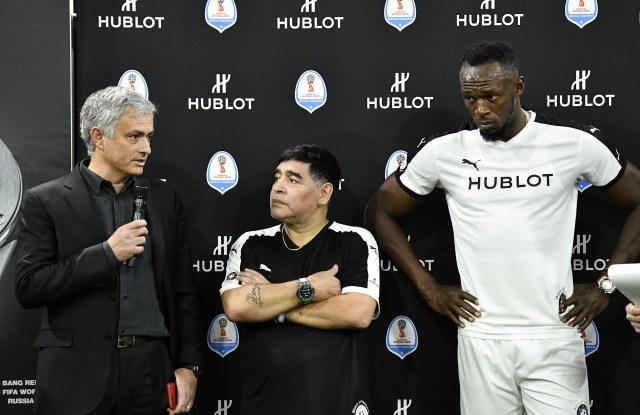 José Mourinho, Diego Maradona and Usain Bolt at Hublot soccer event
