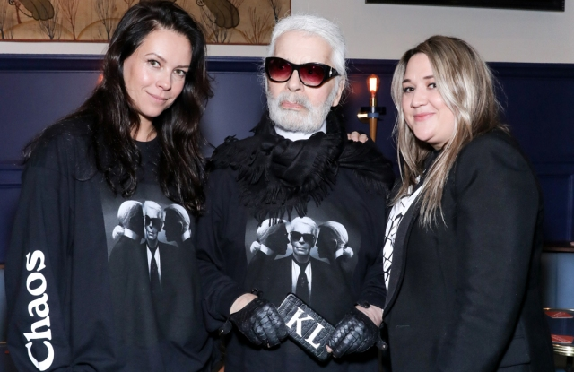 Charlotte Stockdale, Karl Lagerfeld and Katie Lyall
