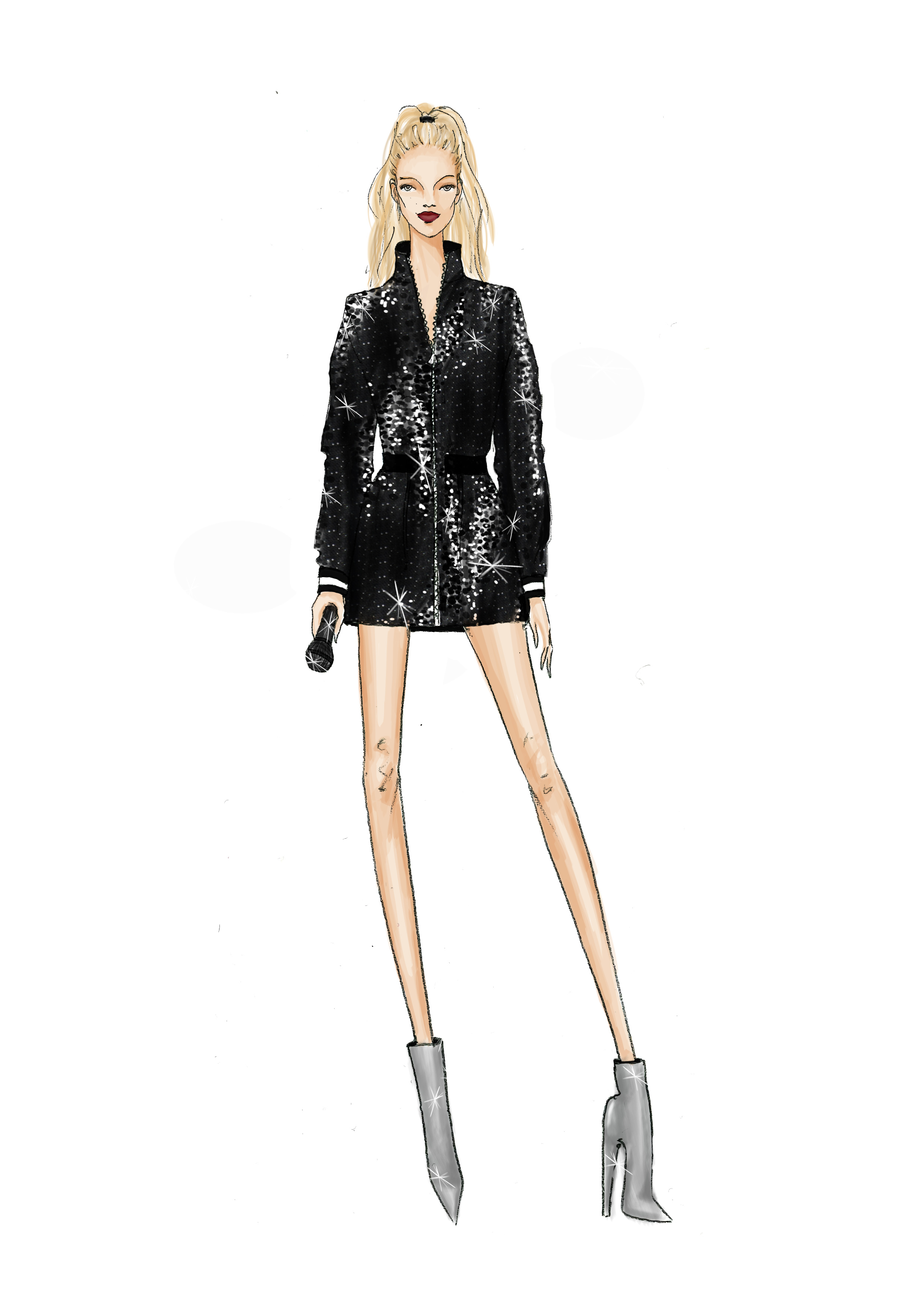 Nicole Miller created this custom sequined mini trench for Kelsea Ballerini.