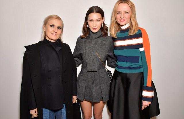 Maria Grazia Chiuri, Bella Hadid and Delphine Arnault