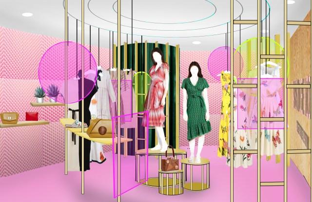 A rendering of Maison-de-Mode's pop-up shop at Houston Galleria.