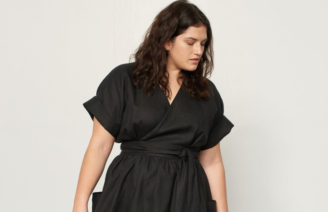 A spring dress from Mara Hoffman's extended size offering.