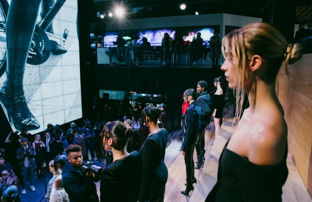 Models pose at LaQuan Smith Fashion Show at Samsung 837 During NYFW- Men's on February 15, 2016. Photo courtesy of Samsung 837.