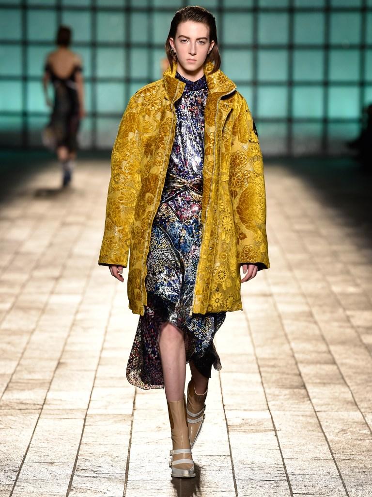 Moose Knuckles and Mary Katrantzou's velvet brocade parka on the runway