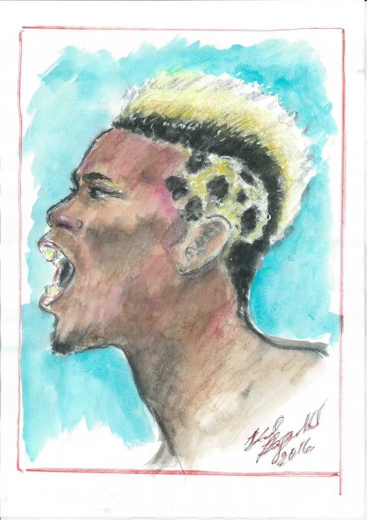 A sketch of Paul Pogba by Karl Lagerfeld