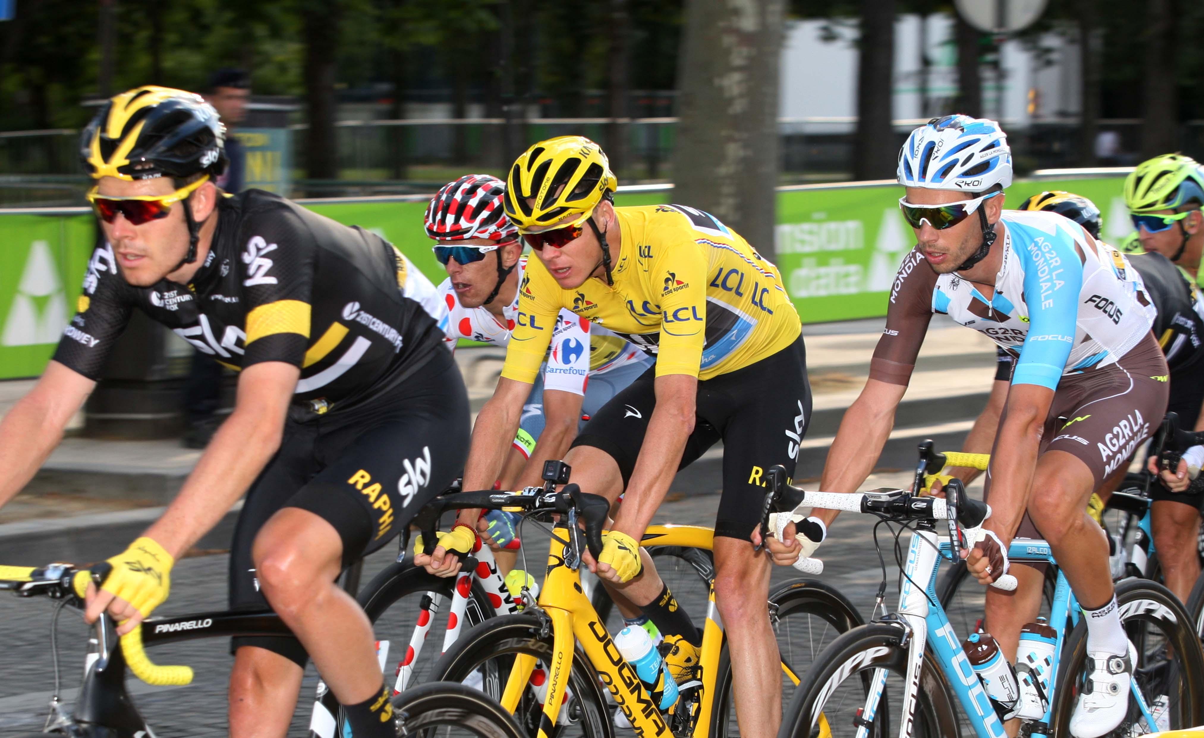 Cyclists in Rapha gear