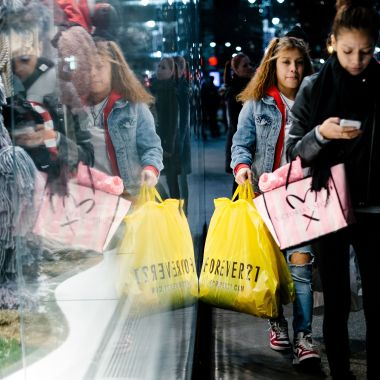 People carry shopping bags outside a shopping mall in New York, New York, USA, 20 December 2017.Holiday shopping in New York, USA - 20 Dec 2017