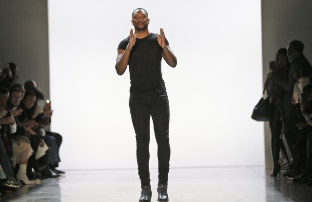 Designer LaQuan Smith greets the crowd after his show during Fashion Week in New YorkNY Fashion Week LaQuan Smith, New York, USA - 14 Feb 2018