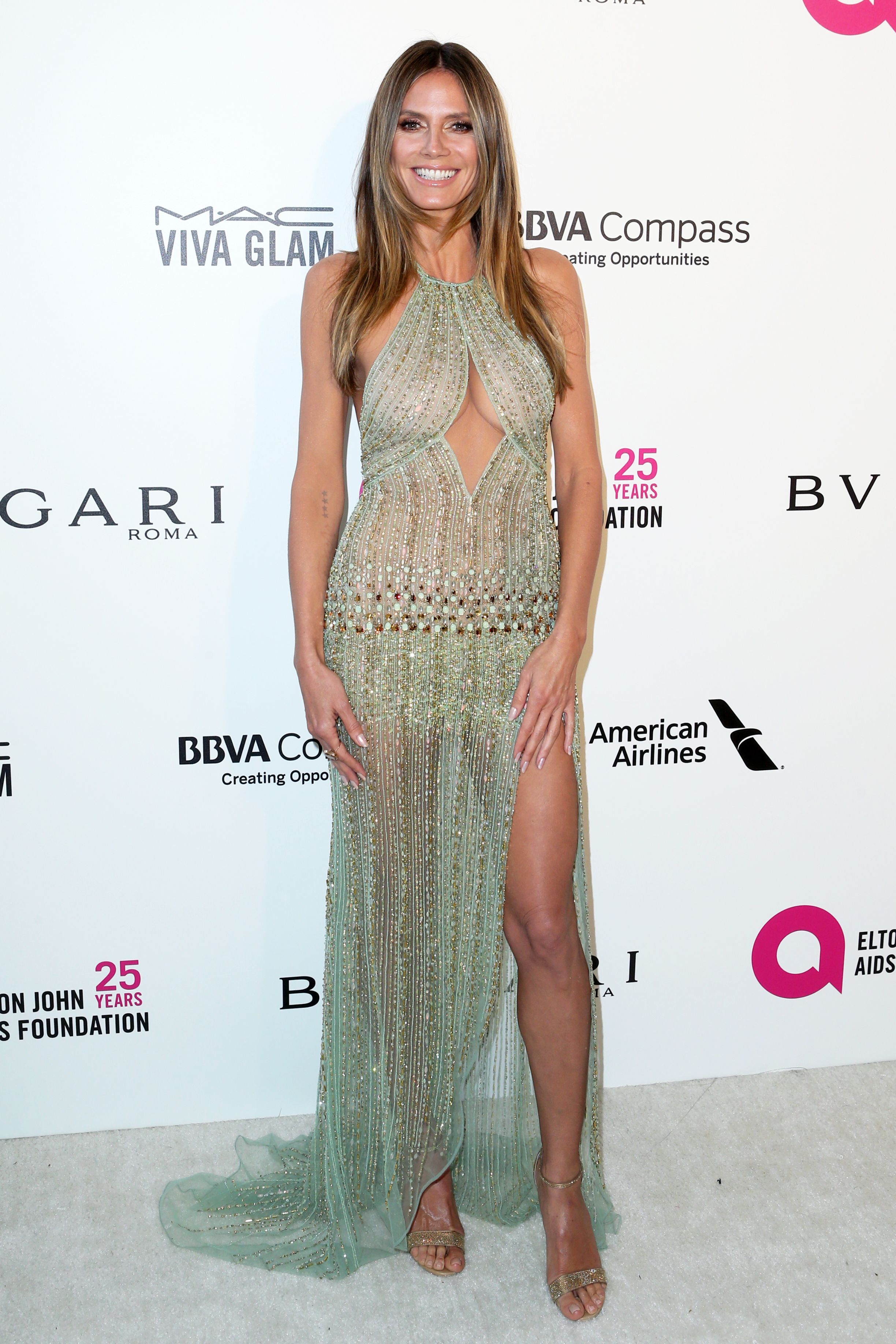 Heidi Klum Elton John AIDS Foundation Academy Awards Viewing Party, Arrivals, Los Angeles, USA - 04 Mar 2018WEARING GEORGES HOBEIKA SAME OUTFIT AS CATWALK MODEL *9330490ae