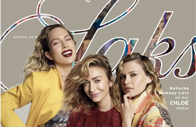 The cover of Saks' Spring 2018 Fashion Book, which features Whitney Wolfe Herd and Sara and Erin Foster.