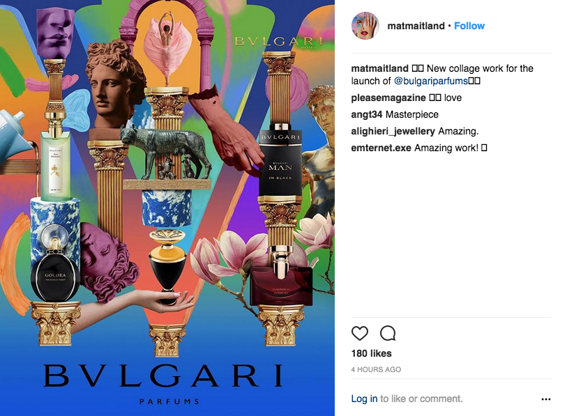 Mat Maitland's artwork for Bulgari Parfums.