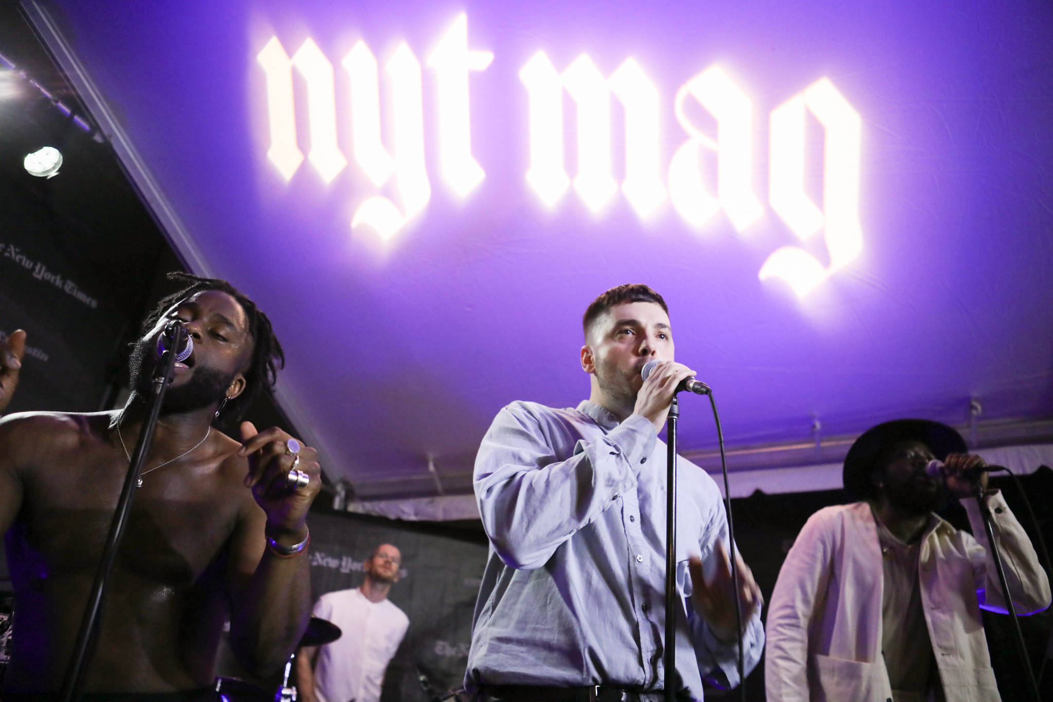 Young Fathers performs at the NYT Magazine party.