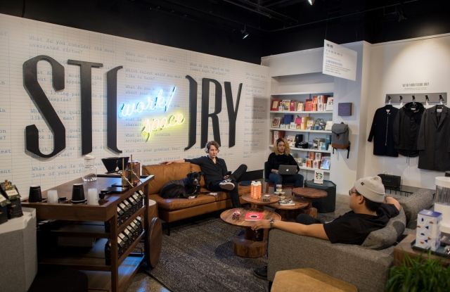 The salon area of Story's workspace.