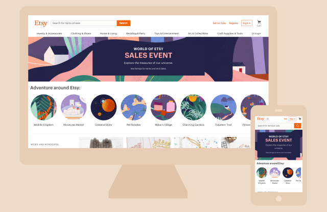The landing page for Etsy's sales event.