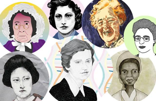 (Clockwise from top left)  Mary Ann McCracken, Noor Inayat Khan, Rosalind Franklin, Emmy Noether, Sojourner Truth, Gertrude B. Elion, Mochizuki Chiyome