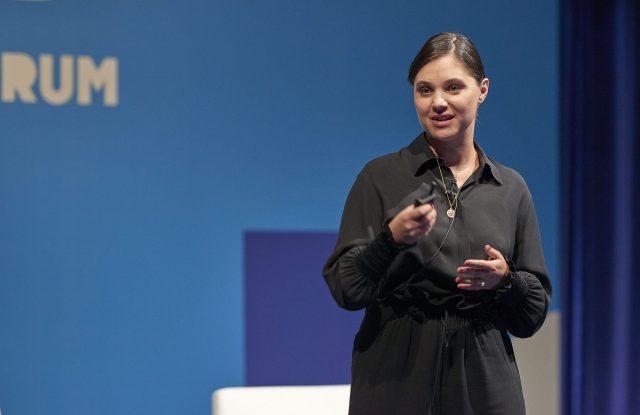 Lana Hopkins speaking at WWD's inaugural Tokyo summit in partnership with Lumine.