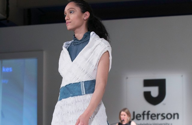 Kelsey Fickes received the Carson Kressley Most Ready for Retail Award for her collection, which included this knit and denim dress, in collaboration with textile designer Madeline Halsey.