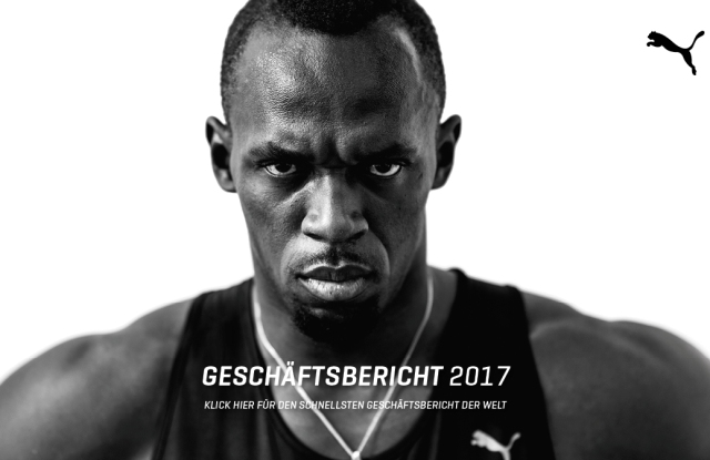 Usain Bolt on the cover of Puma's annual report.