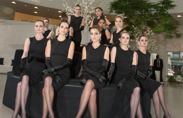Calix by Massimo Palmiero jewelry was shown on models at the Guggenheim.