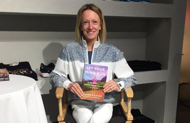 """Kastor promoting her first book, """"Let Your Mind Run."""""""