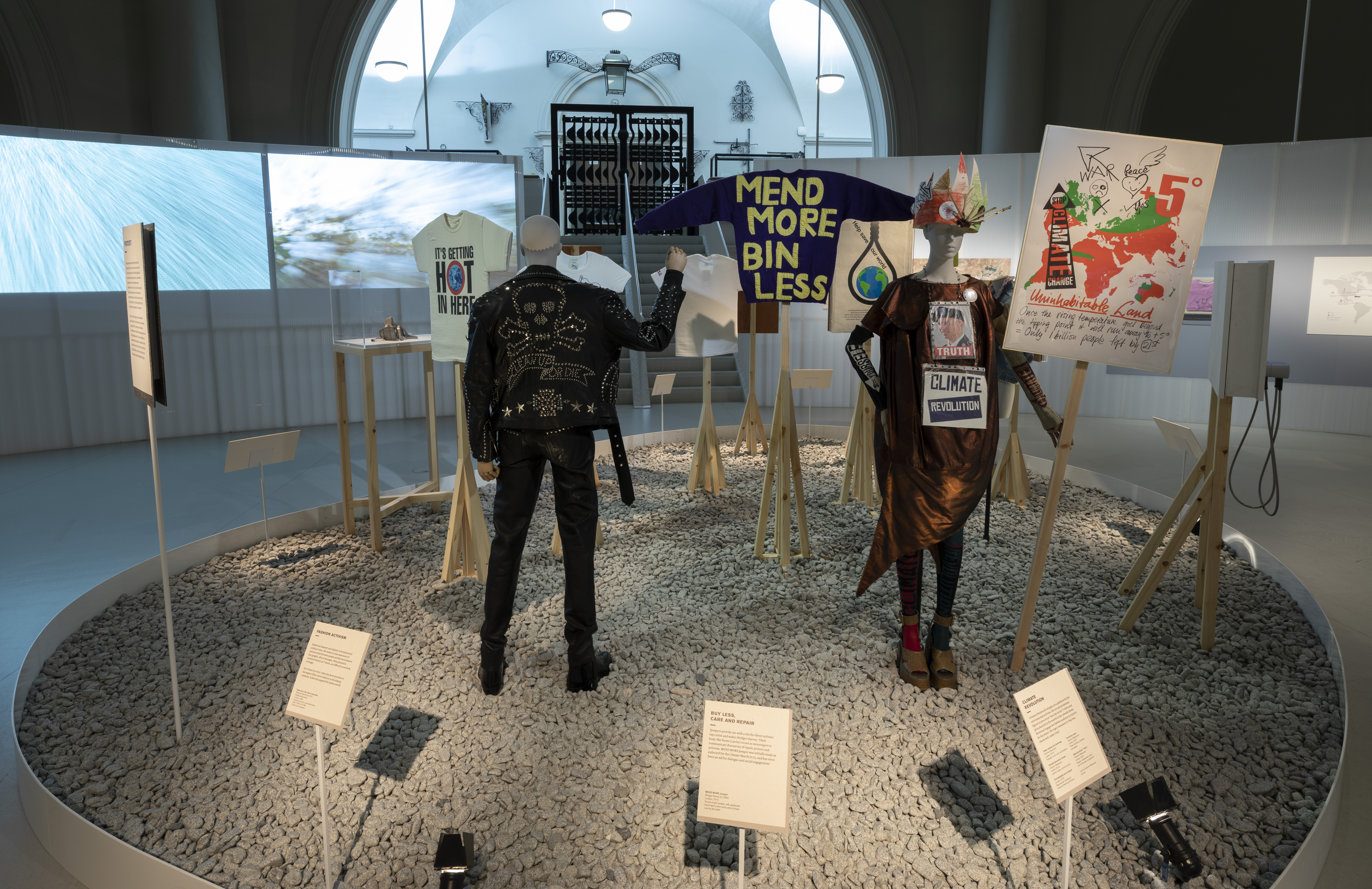 """A display at the """"Fashioned From Nature"""" exhibit at the Victoria & Albert Museum, where the U.K. Parliament held a hearing on the fashion industry's progress on sustainability."""