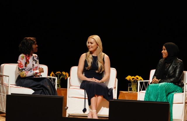 Deborah Roberts speaking with Lindsey Vonn and Ibtihaj Muhammad at the first Embrace Ambition Summit from the Tory Burch Foundation.
